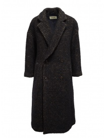 Zucca brown check double-breasted coat ZU99FA197 BROWN