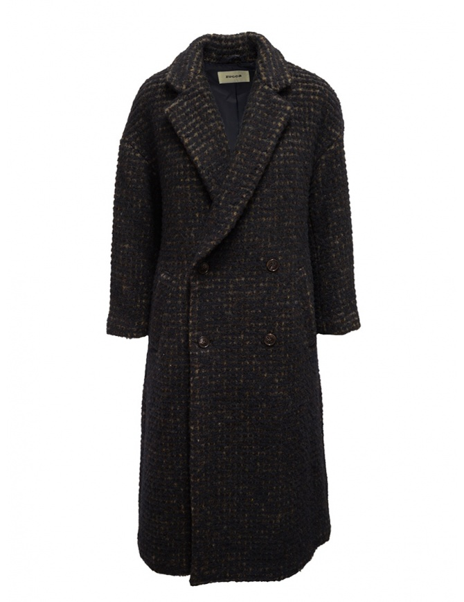 Zucca cappotto doppiopetto marrone a quadri ZU99FA197 BROWN