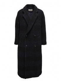 Womens coats online: Zucca checkered blue double-breasted coat