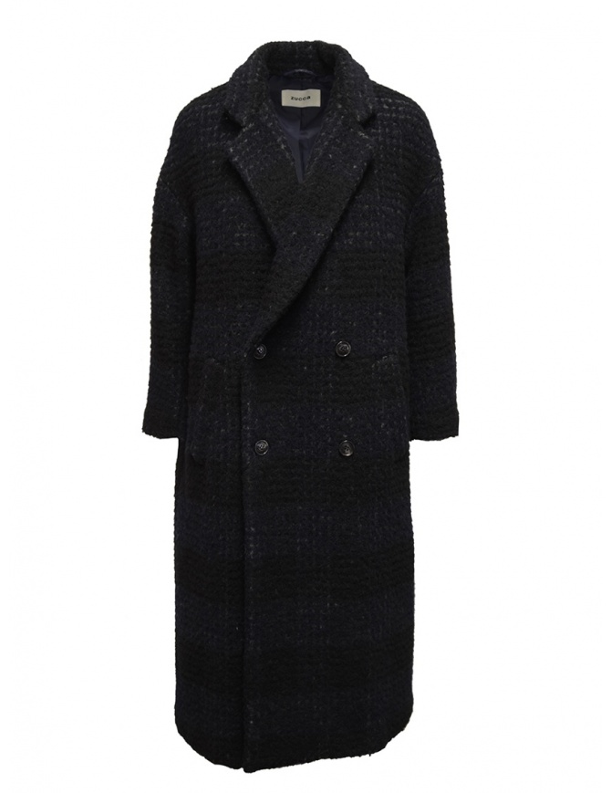Zucca checkered blue double-breasted coat ZU99FA197 NAVY womens coats online shopping