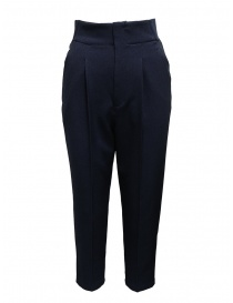 Womens trousers online: Zucca navy pants with front pleats and elastic band