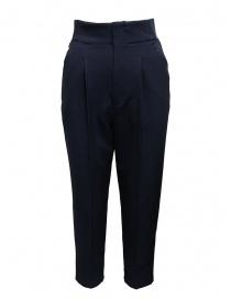 Pantaloni donna online: Zucca pantalone blu con pinces e fascia elastica
