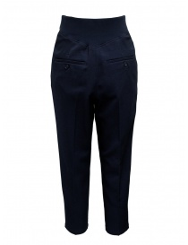 Zucca pantalone blu con pinces e fascia elastica