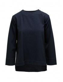 Maglieria donna online: Zucca maglia blu taglio squadrato manica a tre quarti