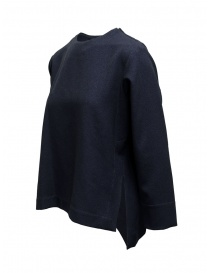 Zucca square-shaped blue sweater with three quarter sleeves