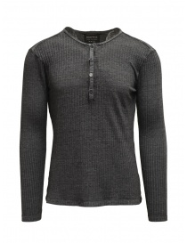 Mens knitwear online: Led Zeppelin X John Varvatos henley gray ribbed