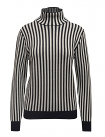 Womens knitwear online: Sara Lanzi white and blue striped turtleneck