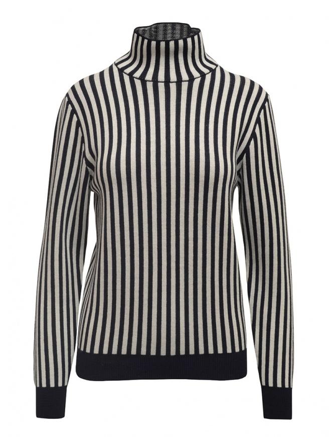 Sara Lanzi dolcevita a righe bianche e blu 03RWV.81 NAVY/WHT maglieria donna online shopping