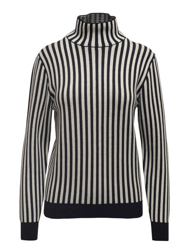Sara Lanzi white and blue striped turtleneck 03RWV.81 NAVY/WHT womens knitwear online shopping