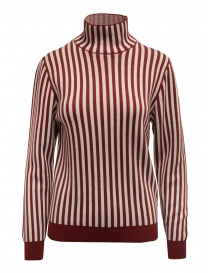 Womens knitwear online: Sara Lanzi red and white striped turtleneck