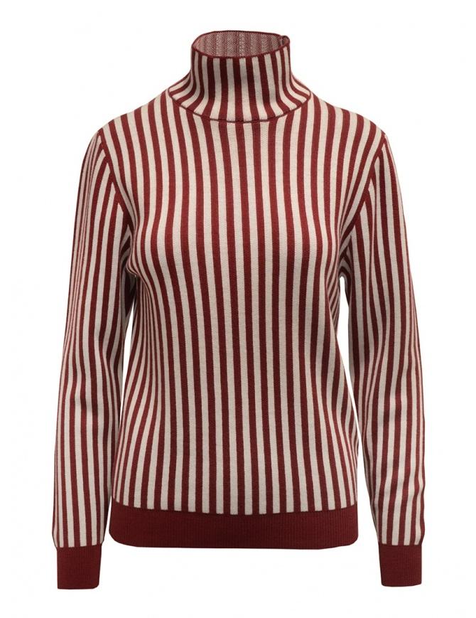 Sara Lanzi red and white striped turtleneck 03RWV261 BURG/WHT womens knitwear online shopping