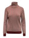 Sara Lanzi red and white striped turtleneck buy online 03RWV261 BURG/WHT