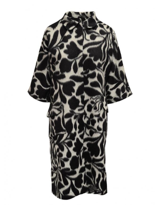 Sara Lanzi cappotto bianco a fiori neri 02CWV191 FLOWERED cappotti donna online shopping