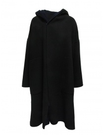 Plantation blue-black reversible poncho coat