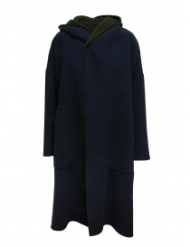 Plantation green-blue reversible poncho coat