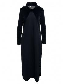 European Culture abito lungo blu con inserti in velluto 1050 2548 1508 order online