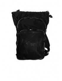 Guidi SP05 black expandable backpack in horse leather and nylon bags buy online