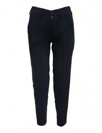 Pantaloni donna online: European Culture pantaloni classici blu con elastico in vita