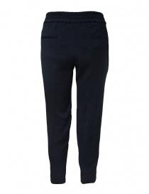 European Culture pantaloni classici blu con elastico in vita