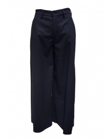 European Culture pantaloni a palazzo in lana blu 0640 0839 0500