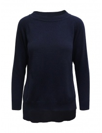 European Culture crew-neck blue sweater with slits online