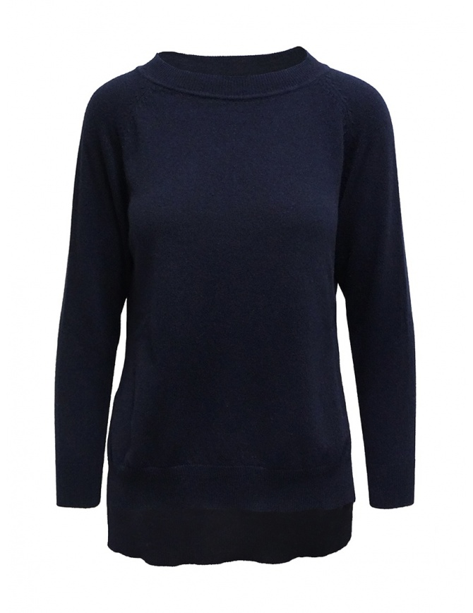 European Culture crew-neck blue sweater with slits M570 9500 9502 womens knitwear online shopping