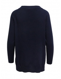 European Culture crew-neck blue sweater with slits
