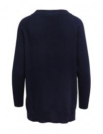 European Culture maglia girocollo blu con spacchi