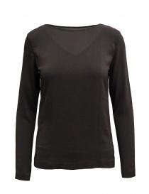 T shirt donna online: European Culture t-shirt manica lunga doppio strato marrone