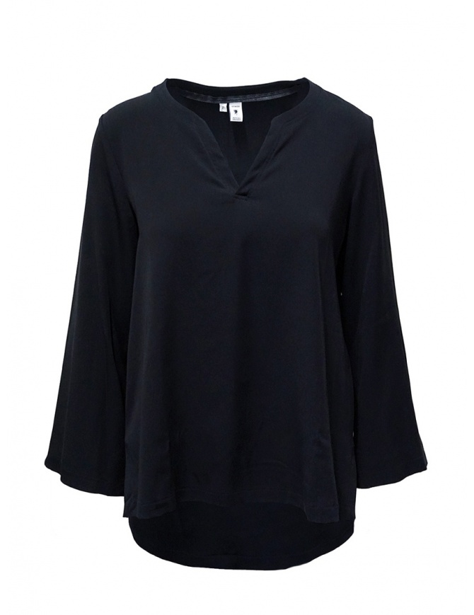 European Culture blue V-neck blouse 6560 8080 1508 womens shirts online shopping