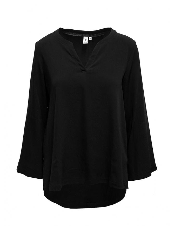 European Culture black V-neck blouse 6580 8080 0600 womens shirts online shopping