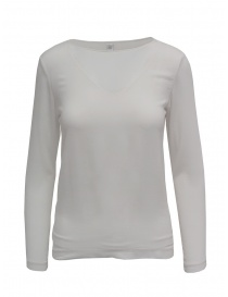 T shirt donna online: European Culture t-shirt manica lunga doppio strato bianca