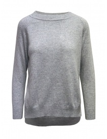 European Culture gray crew-neck sweater with slits online