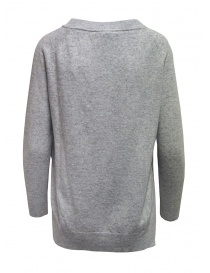 European Culture gray crew-neck sweater with slits
