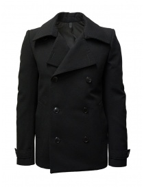 Mens coats online: Deepti classic black double-breasted caban