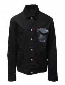 Mens jackets online: D.D.P. black denim jacket with red buttonholes for man