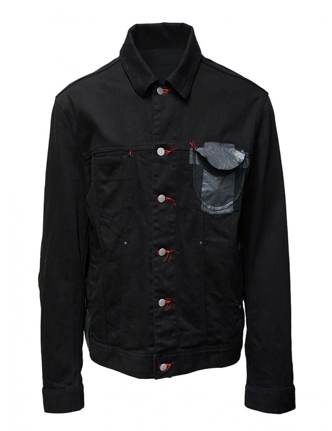 D.D.P. black denim jacket with red buttonholes for man MJJ001 GIUBBINO COTONE UOMO mens jackets online shopping
