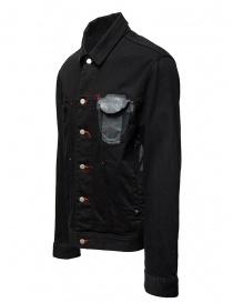 D.D.P. giubbino in jeans nero con asole rosse da uomo prezzo