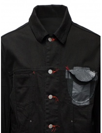 D.D.P. black denim jacket with red buttonholes for man mens jackets price