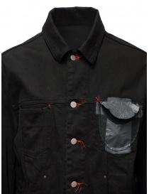 D.D.P. giubbino in jeans nero con asole rosse da uomo giubbini uomo prezzo