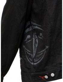D.D.P. giubbino in jeans nero con asole rosse da uomo