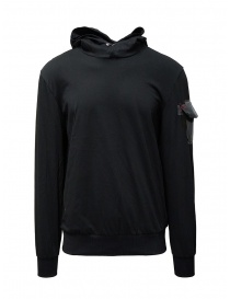 Mens knitwear online: D.D.P. black hooded sweatshirt with shoulder pocket