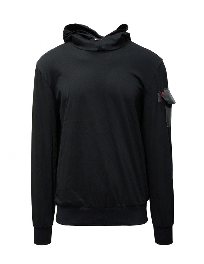 D.D.P. black hooded sweatshirt with shoulder pocket UFJ001 FELPA UNISEX COTONE mens knitwear online shopping