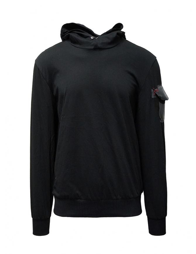 D.D.P. felpa nera con cappuccio e tasca sulla spalla UFJ001 FELPA UNISEX COTONE maglieria uomo online shopping