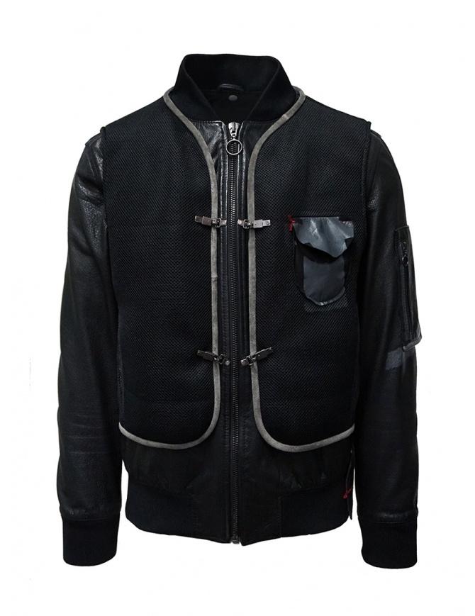 D.D.P. leather bomber with black mesh vest MBJ001 BOMBER PELLE UOMO mens jackets online shopping
