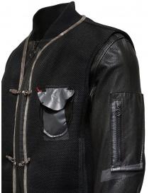 D.D.P. bomber in pelle con gilet a rete nero acquista online prezzo