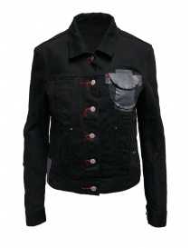 D.D.P. black denim jacket with red buttonholesse for woman online
