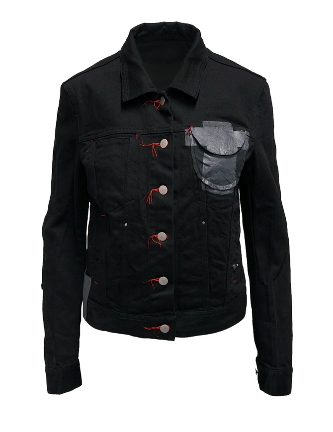 D.D.P. black denim jacket with red buttonholesse for woman WJJ001 GIUBBINO COTONE DONNA womens jackets online shopping
