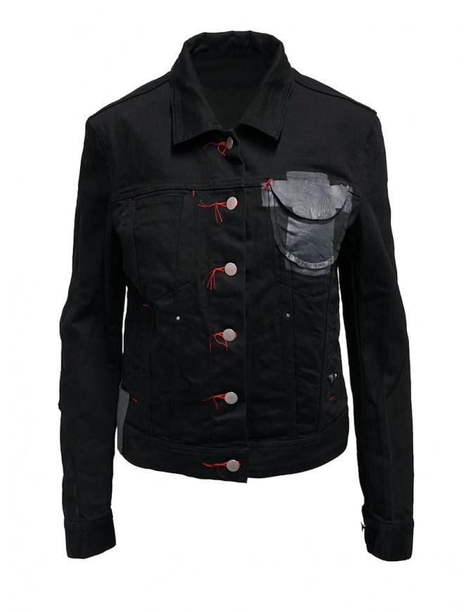 D.D.P. giubbino in jeans nero con asole rosse da donna WJJ001 GIUBBINO COTONE DONNA giubbini donna online shopping