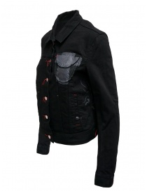D.D.P. black denim jacket with red buttonholesse for woman